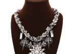 欧美大牌项链 个性蕾丝缠绕链条夸张水晶大花朵项链 热卖外贸饰品