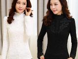 2014秋冬韩版大码女装上衣加绒加厚蕾丝长袖打底衫蕾丝衫