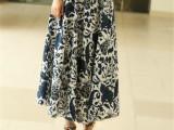 2014夏季新款女装民族风印花珠子口袋9色棉麻半身裙百褶长裙