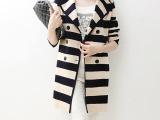 2014秋冬新款韩版条纹中长款风衣 针织翻领双排扣女装大衣外套