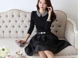 新款韩版 女修身连衣裙娃娃领 长袖 气质 中长款 连衣裙