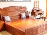 供应广西红木家具批发品牌家具缅甸花梨木卧室系列十全十美大床