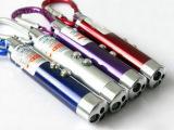登山扣型led迷你强光三灯手电筒 带验钞激光照明功能组合指星笔