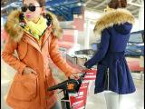 厂家直销女棉衣2014新款修身大毛领羊羔毛加厚女花布领棉服中长款