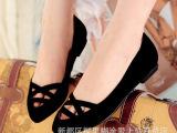 时尚欧美风气质女鞋 真皮单鞋 小尖头低跟镂空潮流鞋牛皮女单鞋