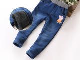 牛仔裤女童冬款加厚加绒儿童长裤子韩小中童