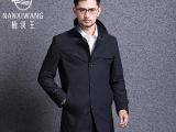 楠溪王厂家直销2014秋冬新款单排扣立领纯色韩版男士品牌风衣外套