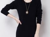 韩版秋冬新款女式圆领纯色貂绒毛衣中长款貂绒衫女针织修身打底衫