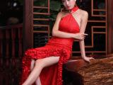 雀之恋 蕊伊 性感挂脖流苏花摆礼服 新娘敬酒服 结婚礼服 红色