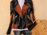 外贸女装2014秋季新款欧美风粗拉链拼接立领女式PU皮皮衣短外套