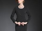 欧洲站2015秋装新品欧美时尚高端大牌职业条纹女装西装长袖连衣裙
