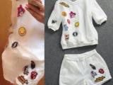 欧洲站口红字母贴布 欧根纱短袖上衣+短裤套装638