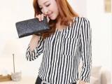 2014新款女装夏 韩版衬衫女修身显瘦大码V领打底小衫