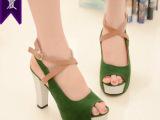一件代发特价夏韩版坡跟罗马高跟鞋厚底防水台鱼嘴凉鞋女鞋118
