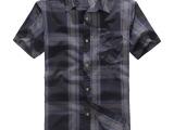 夏季新品男式短袖衬衫大码男装纯棉色织格子衬衣宽松休闲半袖寸衫