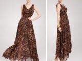 欧美热销外贸女装原单批发2014新款雪纺豹纹连衣裙 欧洲站长裙