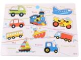 木制木质交通工具认知手抓板拼图拼板 儿童益智宝宝动手玩具代发