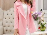 冬季新款 韩版宽松茧型毛呢外套 中长款粉色羊毛呢大衣 女