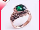 复古合金戒指 雕花波浪纹刻花戒指 中间绿色宝石镶嵌 现货供应