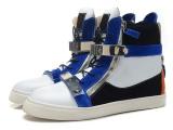 2014新款外贸 GZ情侣款高跟鞋 黑白蓝拼接双铁片真皮平底韩版潮靴