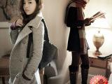 2014秋冬新款韩版女装修身时尚呢子大衣女外套中长款毛呢外套批发