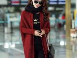 2015秋冬韩版宽松大码蝙蝠袖针织开衫女中长款毛衣外套一件代发