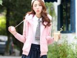 日韩冬季新品少女学生装毛绒外套女仿兔毛皮草短款连帽可爱时尚潮