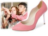 2014秋季新款真皮韩版时尚浅口尖头纯色女式高跟单鞋厂家直销