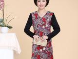 春秋新款中年女装连衣裙中老年妈妈装大码长袖春装印花裙