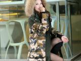 2014新款冬装迷彩羽绒服女中长款加厚大毛领羽绒f外套欧洲站正品