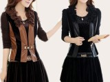 2014秋季新款韩版拼接两件套裙女大码修身皮连衣裙套装