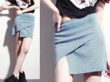 批发供应2014春夏秋款新款欧美风不规则牛仔半身裙一步裙
