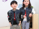 皮皮豆童装批发 2015春季新款外套 儿童立体口袋帅气牛仔棒球服
