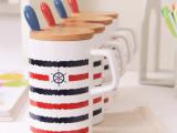厂家直销 创意航海复古杯子 马克杯陶瓷杯 带盖子勺子礼品杯子