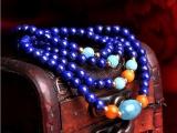 阿富汗天然青金石手链 配蜜蜡天河石手串 多圈多层佛珠念珠