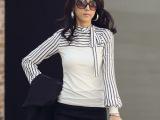 2014韩版女装 条纹海魂蝴蝶结 长袖T恤