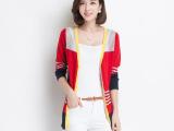 2014秋装新款 欧美精品条纹女式羊毛衫 长袖大码中长款针织衫