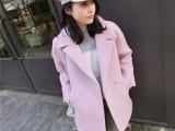 供应秋冬新款韩版女装中长款羊毛呢子大衣小香风毛呢