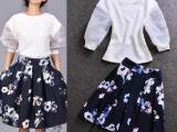 欧洲站夏季新款时尚套装 网纱拼接灯笼袖+印花短裙两件套装 批发