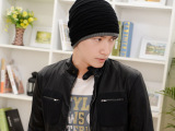 男士韩版潮秋冬天双层加厚毛线  针织 街舞帽套头帽 男帽