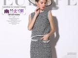 埃比欧洲站套装新款驴家粗纺毛呢流苏背心+半裙套装两件套8554