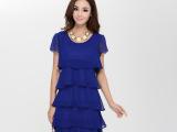 外贸大码一件代发厂价直销2014夏加大码女装短袖连衣裙雪纺蛋糕裙