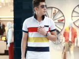 2014夏季男装新款韩版潮流条纹口袋半袖 时尚修身短袖T恤