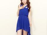 2014年夏季新款韩版品牌女装时尚性感无袖珍珠雪纺网纱连衣裙