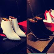 欧美大牌真皮短靴马丁靴链条尖头坡跟女靴时尚舒适裸靴子OL百搭鞋