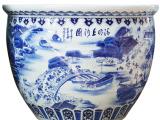 景德镇陶瓷器 落地大缸 君子礼摆件 手绘清明上河图 U-001工