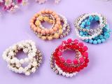 五件套多层手链手饰手镯 玫瑰花朵圆珠珍珠水钻套装
