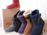 新款侧边蝴蝶结ugg羊皮毛一体女靴3174中筒雪地靴女厂家代发货