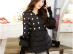 2014冬装新款外套女士棉衣 韩版宽松棉服A字型泡泡袖波点棉袄外套