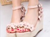 2014夏季明星大牌款 韩版高跟防水台一字扣女鞋花朵装饰坡跟凉鞋